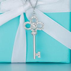 925银项链女心冠镶嵌锆石钥匙吊坠锁骨链送女友生日礼物 小款