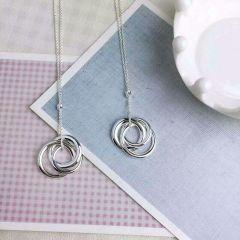 三圈重叠吊坠 925纯银短款女款项链锁骨链银饰品