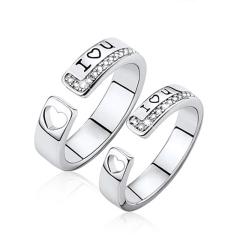 纯银个性指环 LOVE刻字简约情侣戒指 节日纪念礼物