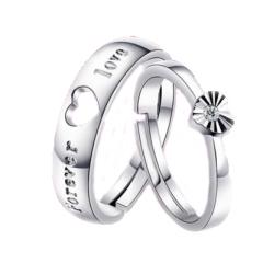 银开口情侣戒指 创意男女活口对戒 韩版饰品戒指