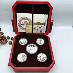 月饼 五福临门月饼999纯银月饼精致银饰品10g/枚