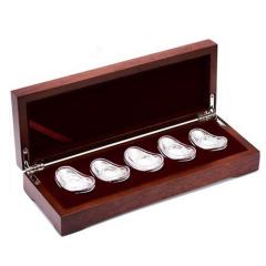 寶中皇 足銀S999福祿壽喜財空心銀元寶銀錠收藏送禮銀擺件套裝 10克*10枚 精品收藏