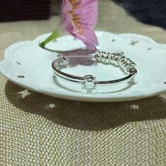 宝中皇潘多拉女款 纯银开口饰品生日简约送女友日韩送妈妈皇冠足银镯子 28g