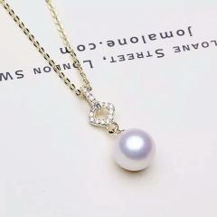 宝中?#39280;?#32654;淑女风范儿 银镶嵌空心圆3色8mm天然珍珠项链送亲人 送爱人 银色