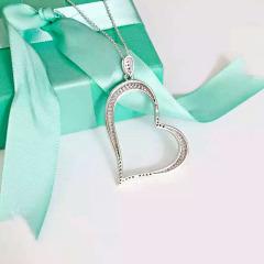 纯银长款精工925纯银材质唯美心形项坠 链长60cm