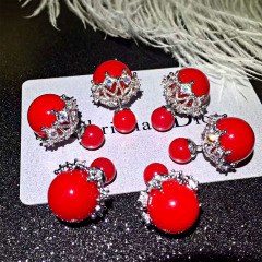 Dior蕾丝耳钉百搭白色喜庆中国红淡雅气质灰3色现货 百搭白色