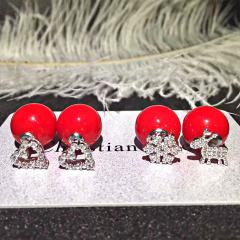 圣诞节新款女式时尚中国红珍珠母贝耳钉 爱心形