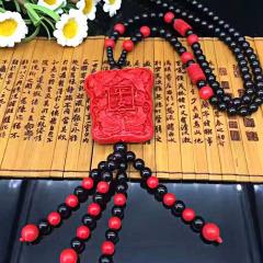 新款吉祥中國紅平安無事牌 朱砂毛衣鏈女款