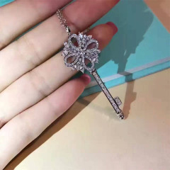 蒂芙尼款鑰匙1:1銀鑲鋯石女款毛衣鏈 鎖骨鏈 毛衣鏈