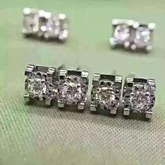 18k钻石耳钉 镶白金耳饰