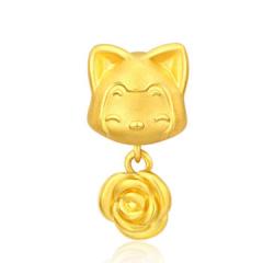 黃金手鏈足金3D硬金轉運珠阿貍家族系列玫瑰花GC50