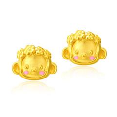 黃金耳釘3D硬足金萌公主耳釘GE00118 約0.9-1克