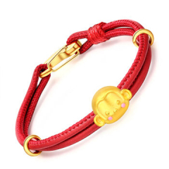 宝中皇黄金3D硬金转运珠生肖猴懂王子手链GC68 中国红首饰 约0.79-0.89克