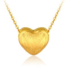 黄金3D硬金爱心黄金吊坠女转运珠手链一款两戴W00141