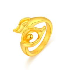黄金足金3D硬金百年好合戒指GJ00121 约2.81克