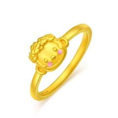 黃金戒指3D硬金生肖猴萌公主GJ00123 14 約1.6克-約1.7克