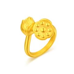 黃金足金3D硬金佳偶天成戒指GJ00120 約3.13克