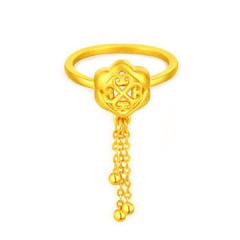 黄金戒指3D硬金香囊婚戒GJ00122 约1.97克
