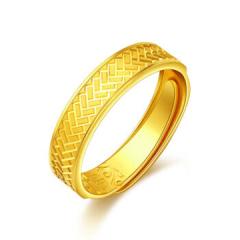 黄金戒指 999足金黄金戒指女款 菱格活口条戒F001678 约4.52克