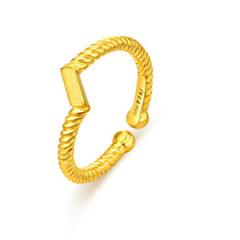 黄金足金戒指扭臂一字戒女款F001668 约3.6克