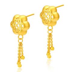 黄金足金3D硬金香囊耳环GE00117 约3.5克-约3.55克