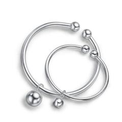 银饰足银999银手镯童镯对珠铃铛银镯子亲子系列时尚光面开口 单镯11克 宝宝款
