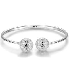 銀飾990足銀鏤空手鐲女 圓球心形鏤空銀鐲子日韓時尚銀飾品 約17g 女款