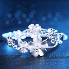 银饰990足银女人花银手镯女款 甜美时尚花朵银镯子送女友礼物 27克 美丽之花