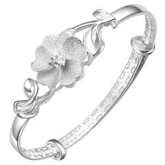 银饰990足银女人花银手镯女款 甜美时尚花朵银镯子送女友礼物 平衡之花光面 约21克 甜美时