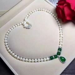 天然珍珠項鏈 扁圓形饅頭珠 正品淡水珍珠瑪瑙 吊墜款 女送媽媽 白色 約9-10mm 45