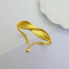 3D硬金999足金 黄金 波浪手镯 女时尚开口手镯 时尚精品手环 约10.2g