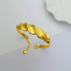 宝中皇 3D硬金999足金 黄金 螺纹手镯 女时尚开口手镯 时尚精品手环 约10g