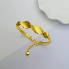 3D硬金999足金 黄金 螺旋波纹手镯 女时尚开口手镯 时尚精品手环 约9.1g