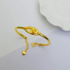 3D硬金999足金 黃金 花朵手鐲 女時尚開口手鐲 時尚精品手環 約8.8g