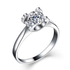 PT950铂金钻戒经典牛头款结婚钻戒女求婚钻石戒指显钻四爪正品  50分钻戒  GIA国际证书