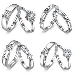 925银戒指 女饰品纯银日韩简约对戒个性宽男开口情侣戒指一对 比翼双飞
