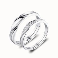 2017年新款纯银戒指男女情侣戒指开口活口可调节银戒指女饰品 对戒