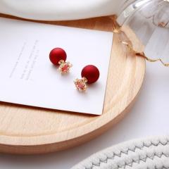 寶中皇  新款S925純銀鑲紅鉆雪花幸運紅 磨砂紅球 耳釘 銀色