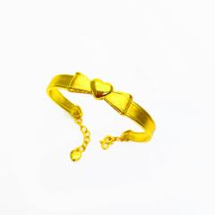3D硬金999足金 黃金 桃心蝴蝶結手鐲 女時尚開口手鐲 時尚精品手環 約10.2g
