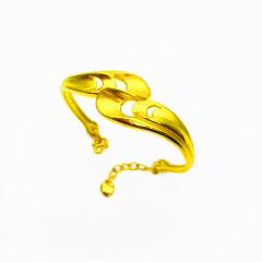 3D硬金999足金 黄金 凤尾手镯 女时尚开口手镯 时尚精品手环 约10.6g