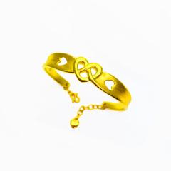3D硬金999足金 黄金 交缠的心手镯 女时尚开口手镯 时尚精品手环 约9.5g