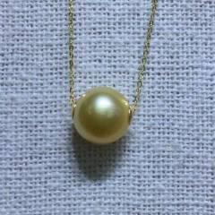 美林珍珠  珍珠项链 18k金  10-11mm金珠项链,实物拍摄