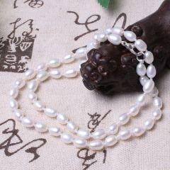 美林珍珠  白色淡水珍珠 6-7mm  珍珠项链