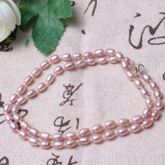 美林珍珠  紫色淡水珍珠 6-7mm 珍珠项链