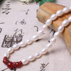 美林珍珠 白色加玛瑙珠 11mm 珍珠项链