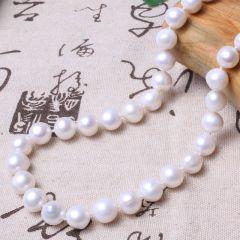 美林珍珠 白色微瑕 10mm 珍珠项链