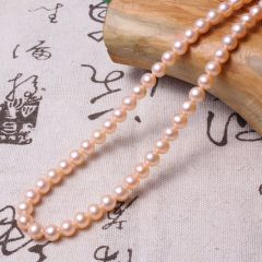 美林珍珠  珍珠项链  粉色正圆高光无暇 6mm