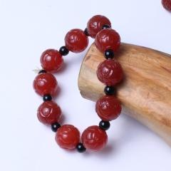 珍雅玉轩 天然玛瑙 古艺工艺满工雕刻玛瑙手链