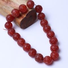 珍雅玉轩   天然玛瑙 古艺工艺满工雕刻玛瑙配珠项饰