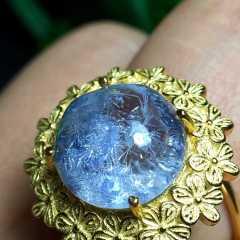 晶之缘  天然蓝发晶 戒指 无加色
